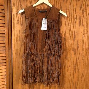 Zara Faux Suede Fringe Vest